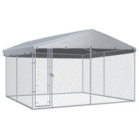 """vidaXL Outdoor Dog Kennel with Roof 150.4""""x150.4""""x88.6"""" Galvanized Steel Cage"""