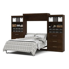 Atlin Designs Queen Wall Bed with Storage in Chocolate