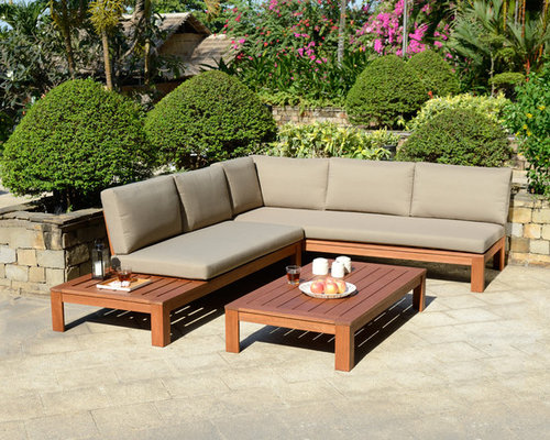 Miami Wooden Garden Lounge Set With Cushions   Outdoor Lounge Sets
