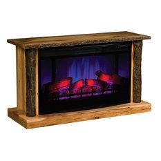 Columbus LED Fireplace with Log Trim - Brown