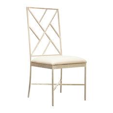 Worlds Away Ashton Dining Chair, Silver White
