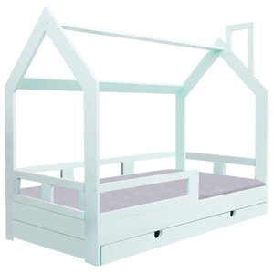 Wooden House Frame Bed With Barrier and Bottom Drawer