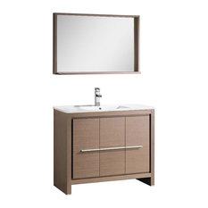 "Fresca Allier 40"" Gray Oak Modern Bathroom Vanity, Mirror"