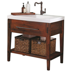 """Ronbow Portland Solid Wood 36"""" Vanity Set With Ceramic Sink Top and Soap Tray"""