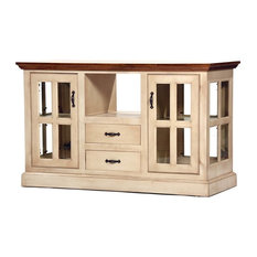 Kitchen Island With Solid Wood Plank Work Top, European Ivory and Havana Gold