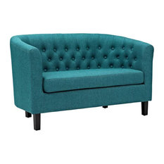 Nicole Upholstered Fabric Love Seat/Teal