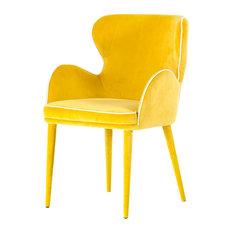Modrest Tigard Modern Yellow Fabric Dining Chair
