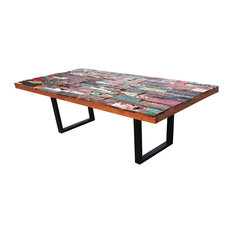 Rectangular Dining Table Made From Recycled Teak Wood Boats(98-inch And 79-inch Sizes)