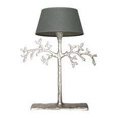 Mini Olive Branch Table Lamp, Nickel and Grey
