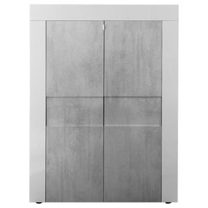 Easy II White Gloss Highboard, Stone Imitation Fronts
