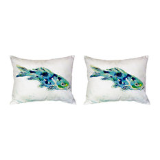 Pair of Betsy Drake Blue Koi No Cord Pillows 16 Inch X 20 Inch
