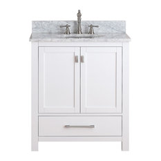 "Avanity Modero 31"" Vanity, White Finish, Carrera White Marble Top"