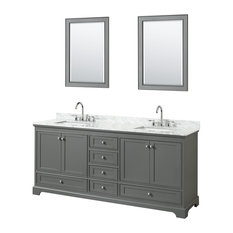 "Deborah 80"" Double Vanity With Mirror, Dark Gray, Carrara Top, Square Sinks"