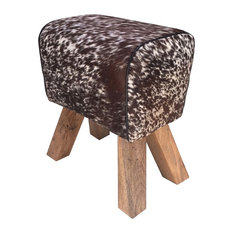 Cow Hide Stool Bravo Brown And White