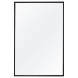 "Contemporary Bathroom Mirrors Alan Rectangle Bathroom Mirror, Matte Black, 24""x36"""