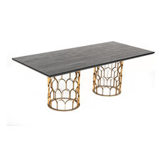 Modrest Natalie Modern Black Acacia And Antique Brass Dining Table