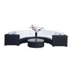 Outdoor Wicker Sofa Sectional Round 5-Piece Resin Couch Set