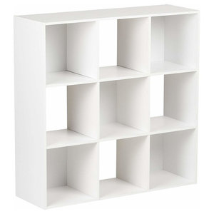 Modern Display Storage Unit, White Painted MDF With 9 Cube Compartments