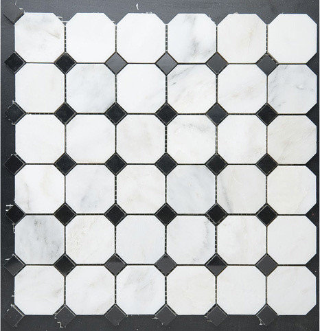 Octagon w. Black Diamond Dot Mosaic - Tile