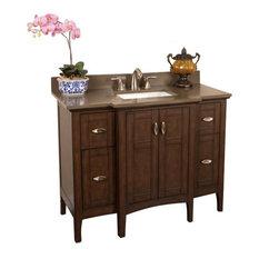 """45"""" Single Sink Vanity, Sable Walnut With Quartz Top, Cream, Taupe Top, 45"""", Qua"""