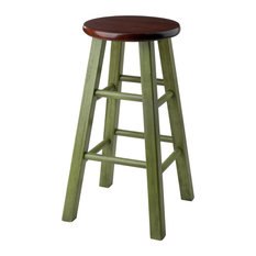 Ivy 24-inch Counter Stool Rustic Green With Walnut Seat