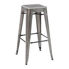 Crosley   Amelia Metal Cafe Barstool Set Of 2, Galvanized   Bar Stools And  Counter