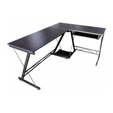Modern Sleek Desk, MDF, Wood Effect and Metal Frame, Reversible Design, Black