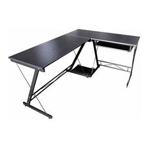 Modern Sleek Desk, MDF, Wood Effect and Metal Frame, Reversible Design, Black