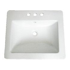 """Vanity Fantasies """"Ledge"""" Porcelain Rectangular Drop-In Vanity Sink"""