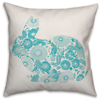 Teal Floral Bunny Silhouette 20x20 Throw Pillow Cover