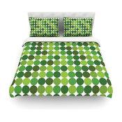 "Kess Original ""Noblefur Green"" Dots Cotton Duvet Cover, King/California King"