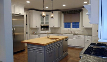 Blue Island with Stained wood counter