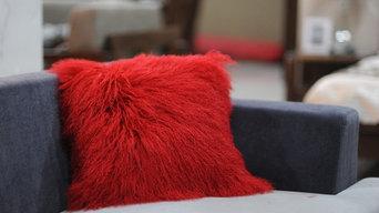 "18"" x 18"" Tibetan/Mongolian Lamb Fur Pillow - Red"