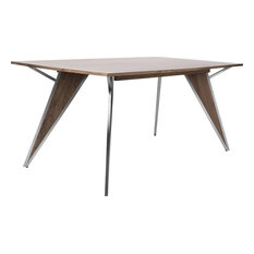 LumiSource Tetra Dining Table Walnut Wood -DT-TETRAWL-SS