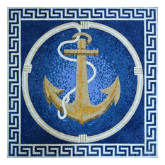 "Bright Anchor on A Blue Background Marble Mosaic, 31""x31"""