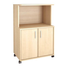 Nexera   Eco Friendly 2 Door Microwave Cart, Natural Maple   Kitchen Islands