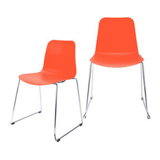 Hebe Series Shell Side Chairs With Steel Wire Metal Legs, Set of 2, Orange