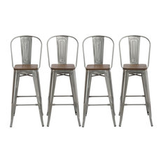 Btexpert - Metal Antique Counter-Height Stools Set of 4 - Bar Stools and  sc 1 st  Houzz & Industrial Bar Stools and Counter Stools | Houzz islam-shia.org