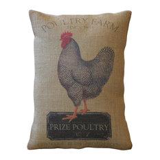 "Polkadot Apple Pillows - Chicken Farm Burlap Pillow, 12""x16"" - Decorative Pillows"