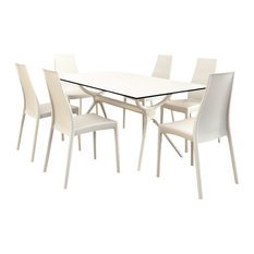 Miranda Dining Set With 6 Chairs White