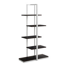 """60"""" Bookcase With Metal Base, Cappuccino/Silver"""