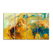"""""""Abstract Yellow Collage"""" Abstract"""" Large Canvas Print, 48""""x28"""""""