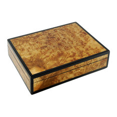 Lacquer Long Stationery Box Box, Walnut Burl