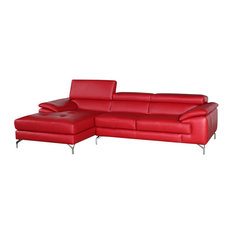 Ju0026M Furniture   A973B Italian Leather Mini Sectional Sofa, Red, Left Facing  Chaise