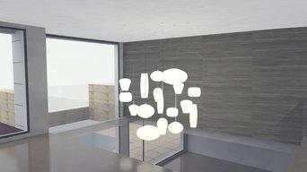 Proyecto Iluminación y revestimiento para salón y entrada.