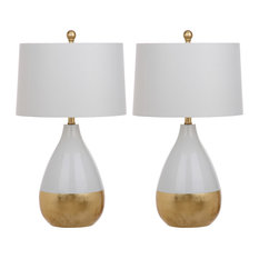 Safavieh - Kingship Glass Table Lamps, Set of 2, White/Gold - Lamp Sets