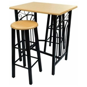 Contemporary 3-Piece Bar Set, Metal Frame and MDF Dining Table and Stools