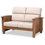 Interiors Wholesale - Mission Style Taupe Fabric Upholstered Walnut Brown Wood 2-Seater Loveseat - Bring a classic, cozy look to your living space with the Charlotte loveseat. Constructed from durable wood, the Charlotte displays a warm walnut brown finish. The seat features plush foam-padded cushions upholstered in an elegant taupe fabric, making the Charlotte the most comfortable piece in the house. The slatted back and armrests provide a clean look reminiscent of mission style design. Sophisticated from any angle, the Charlotte is well suited for private residences and offices, as well as public reception areas. The Charlotte loveseat is made in Malaysia and requires assembly.