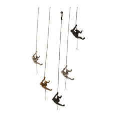 Gold Metal Climbing Man Wall Sculpture Set 2 | Hanging Climber Modern Victory