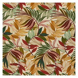 Red, Green and Gold Vibrant Leaves Outdoor Indoor Upholstery Fabric By The Yard
